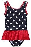 CharmLeaks Baby - Mädchen Einteiler Badeanzug UV-Schutz Dunkelblau & Rot Mit Pünkte 3-6 Monate