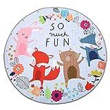 Jeteven Baby Krabbeldecke Matt Kinderzimmer Kinderteppich Decke, groß und weich gepolstert mit AU Aufbewahrungsbeutel, ca.150cm, Muster: Fuchs
