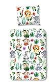 Aminata Kids - Kinder-Bettwäsche 100-x-135 cm Zoo-Tier-e-Motiv Safari Waldtier-e Dschungel 100-% Baumwolle Renforce Weiss-e bunt-e Löwe AFFE Elefant-en