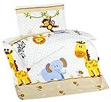 Aminata Kids Kinder-Bettwäsche 100-x-135 cm Zoo-Tier-e Safari Waldtier-e Dschungel Baby-Bettwäsche Junge-n und Mädchen Affe Giraffe Elefant