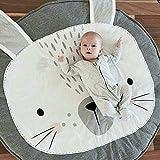 Ustide Baby-Kriechteppich, Krabbeldecke, Schlafteppich, Anti-Rutsch-Spielmatte für Kinder, Baumwoll-Spielmatte, Spieldecke, umweltfreundlicher Teppich, Kinderzimmer-Deko, 95 x 95 cm, baumwolle, hase, 95 cm