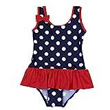 iiniim Baby Mädchen Tankini Bikini Einteiler Badeanzug Polka Dots Schwimmanzug Bademode,Marineblau (XL)