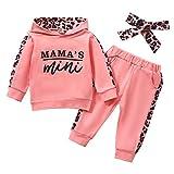 Geagodelia Babykleidung Set Baby Mädchen Kleidung Outfit Langarm Kapuzenpullover Top + Hose Neugeborene Kleinkinder Weiche Babyset Mama's Mini (Pink 725, 0-6 Monate)