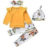 HINTINA Prämie Reine Baumwolle Set Kleidung,Neugeborene Babykleidung Baby Jungen Mädchen Kleidung, Sweatshirt + Blumendruckhose + Hut + Bogenstirnband, 4-teiliges Baby Unisex Kleidungsset