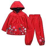 TURMIN Kinder Regenjacke Jungen Mädchen Regenanzug Regenbekleidung wasserdichte Kinderjacke Baby Kleinkind Winddichte Jacke Regen Poncho, Rot, 110(2-3 Jahre)