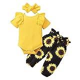 ZOEREA Baby Mädchen Kleidung Set Rüschen Schulter Langarm Body Strampler + Blumen Hose + Bogen Stirnband Neugeborene Kleinkinder Babykleidung Outfits Set