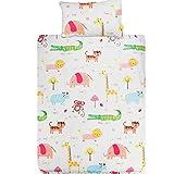 KEAYOO Baby Bettwäsche 100x135 Weiß mit Buntstiftzeichnung Süßes Tier und Bäume 100% Baumwolle mit Reißverschluss