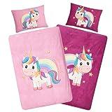Aminata Kids Bettwäsche Einhorn-Motiv 100x135, 40x60 cm Mädchen Baumwolle rosa lila mit YKK Reißverschluss - Kinderbettwäsche - Baby-Kinder-Bettwäsche-Set - Regenbogen, Rose pink Unicorn Pferde Tier