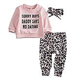 Geagodelia 3tlg Babykleidung Set Baby Mädchen Kleidung Outfit T-Shirt Top/Body + Hose/Shorts Neugeborene Kleinkinder Weiche Babyset 0-4 Jahre (0-6 Monate, Hosen & Top Sets - Pink)