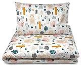 Balbina Kinder Baby-Bettwäsche-Set ☆Boho Tiere Motiv 100 x 135 cm Deckenbezug 40 x 60 Kissenbezug 2tlg. 100% Baumwolle mit Reißverschluss (Boho Motiv-Wald)