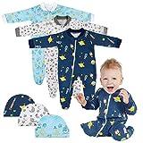 Lictin Strampler Baby Strampler Babykleidung Strampler Junge Schlafstrampler Baumwolle mit Baby Mütze für Neugeborene 0-3 Monate, Jungen, 0-3 Monate