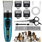 BASEIN Tierhaarschneider, Schermaschine Haarschneidemaschine Hunde Katze leise, Elektrische Kabellos und Wiederaufladbare Hundeschermaschine mit Haarschere, Kämme für Haustiere Haarpflege