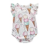 style_dress Baby Kleidung Set Neugeborene Jungen Mädchen Sommer Ärmellos Cartoon-Eiscreme-Strampler Overall Tops Romper Outfits Spielanzug Set (Weiß, 6-12 Monate)